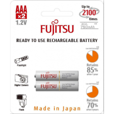 Fujitsu 800mAh (min.750mAh) Ni-MH 2pcs AAA Rechargeable Batteries Blister Pack (2nd Generation)