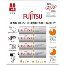 Fujitsu 2000mAh (min.1900mAh) Ni-MH 4pcs AA Rechargeable Batteries Blister Pack (2nd Generation)