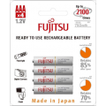 Fujitsu 800mAh (min.750mAh) Ni-MH 4pcs AAA Rechargeable Batteries Blister Pack (2nd Generation)