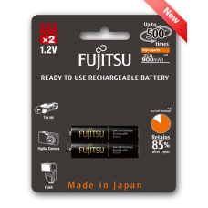 Fujitsu 950mAh (min.900mAh) Ni-MH 2pcs AAA Rechargeable Batteries Blister Pack